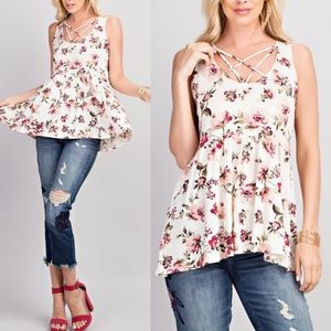 VASIE Floral Print Knit Top
